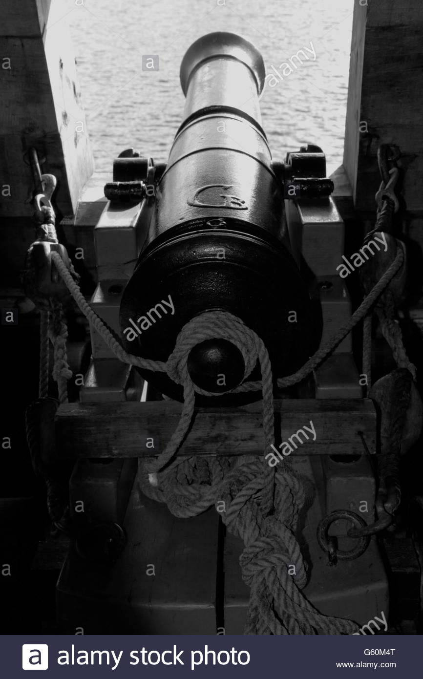 Salute cannon on a tall ship - Stock Image