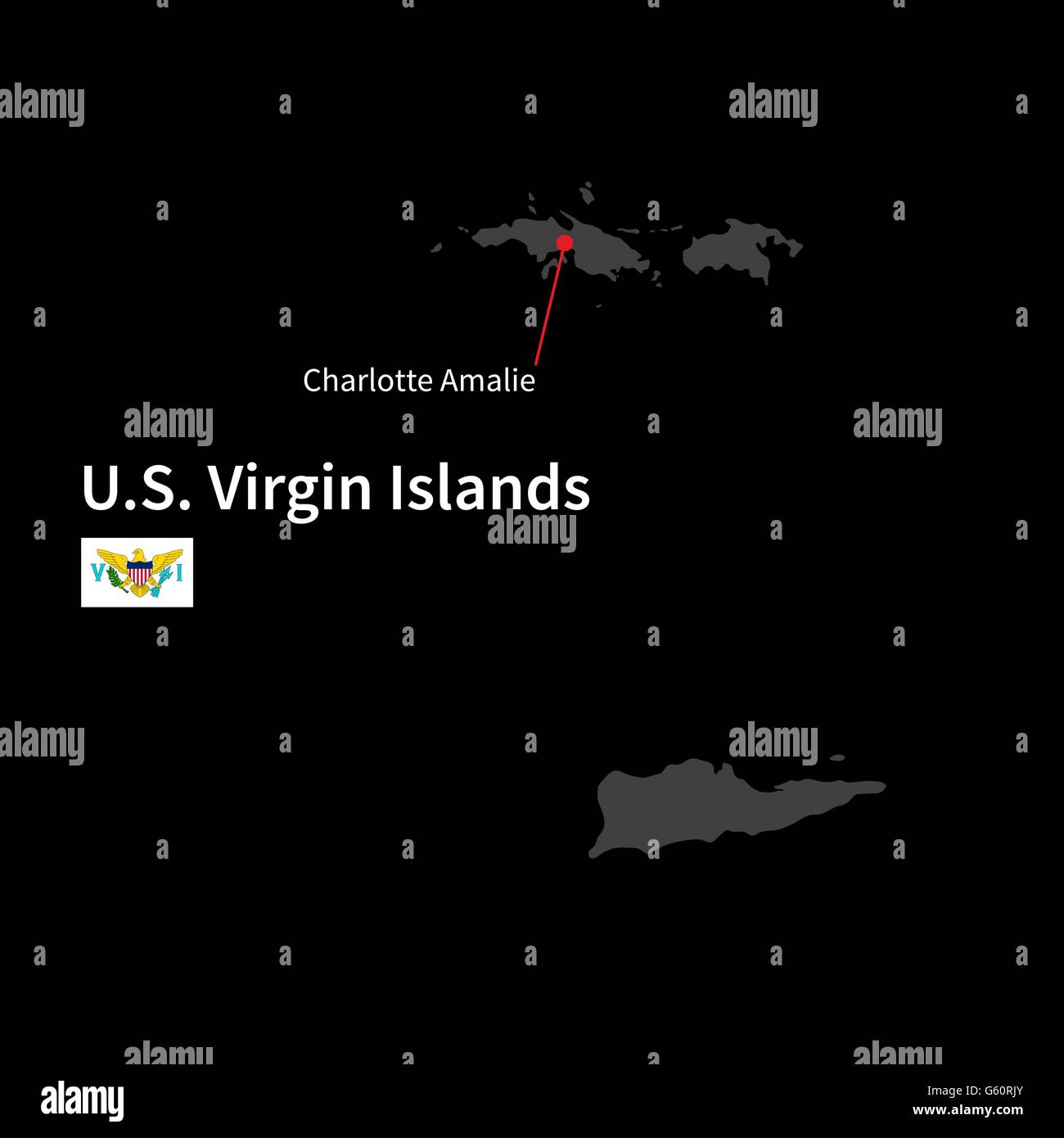 Detailed map of U.S. Virgin Islands and capital city Charlotte ...