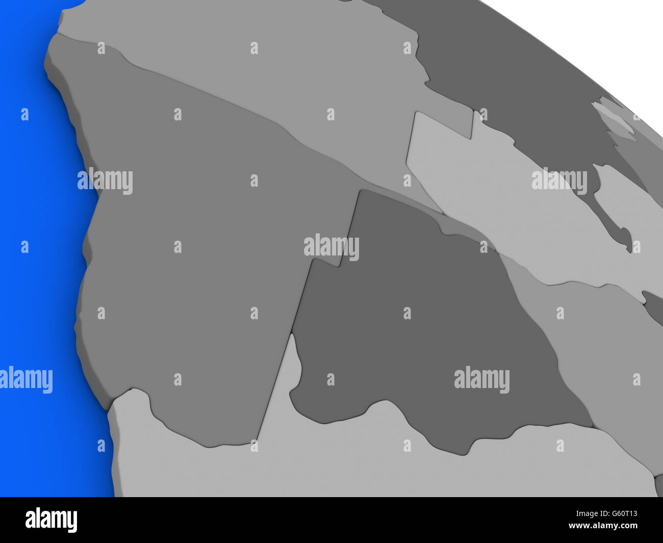 Map of namibia and botswana on 3d model of earth with countries in map of namibia and botswana on 3d model of earth with countries in various shades of grey and blue oceans 3d illustration gumiabroncs Image collections