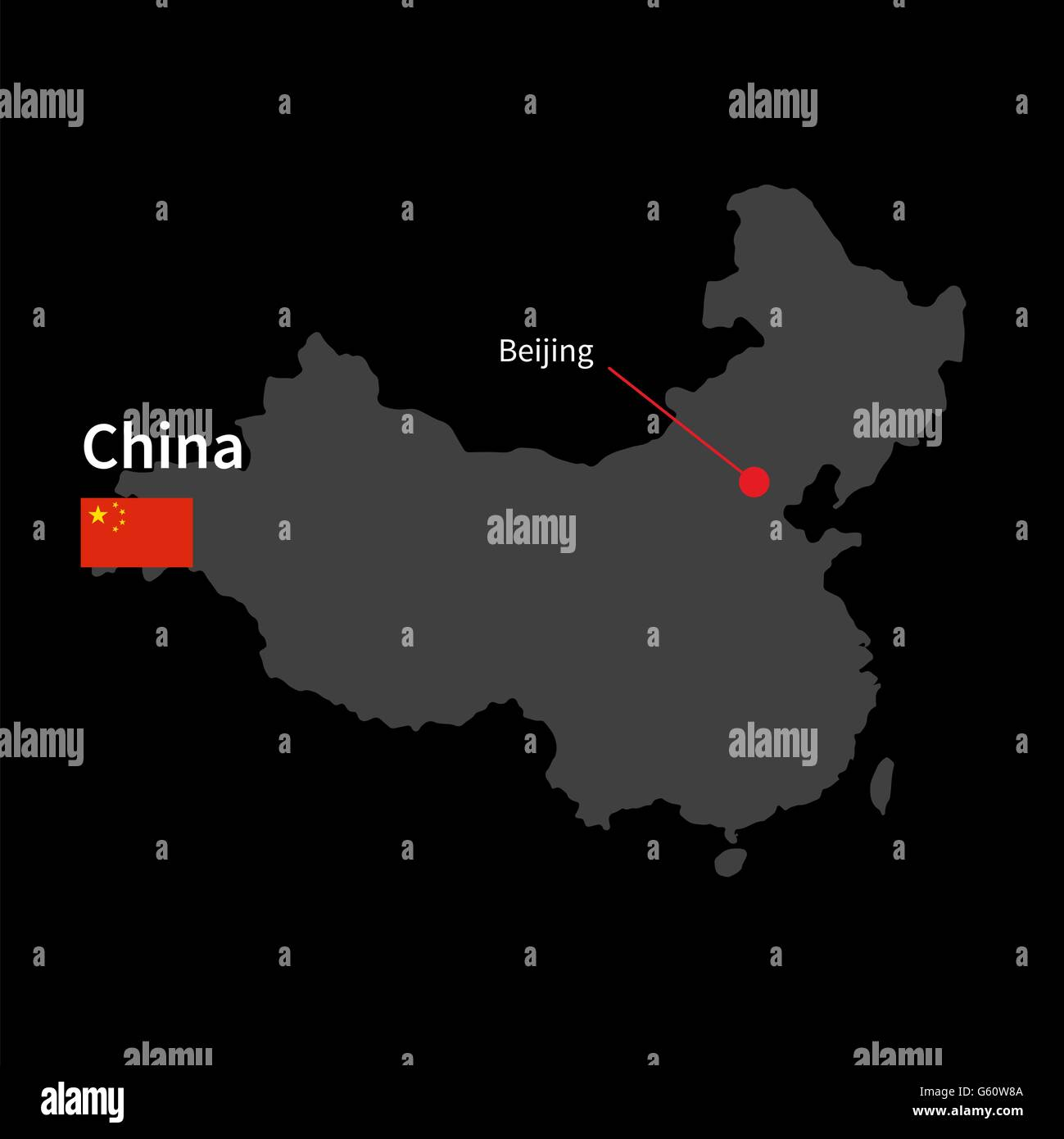 Detailed map of China and capital city Beijing with flag on black background - Stock Image