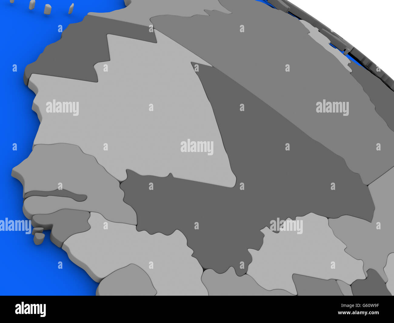 Map of mali and senegal on 3d model of earth with countries in stock map of mali and senegal on 3d model of earth with countries in various shades of grey and blue oceans 3d illustration gumiabroncs Choice Image