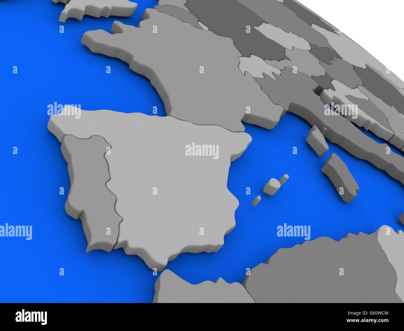 Map of spain and portugal on 3d model of earth with countries in map of spain and portugal on 3d model of earth with countries in various shades of grey and blue oceans 3d illustration gumiabroncs Image collections