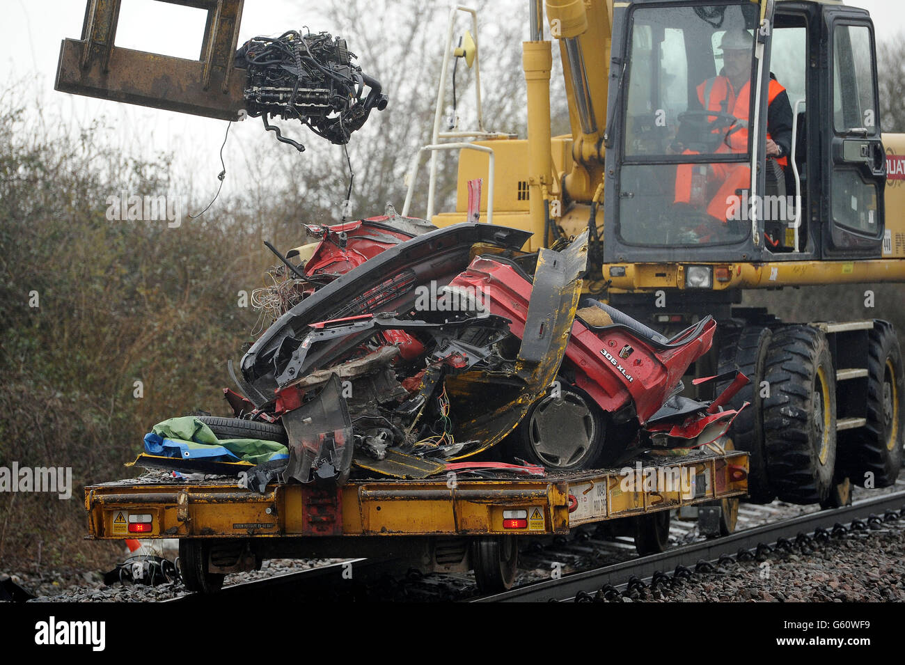 Level crossing crash - Stock Image