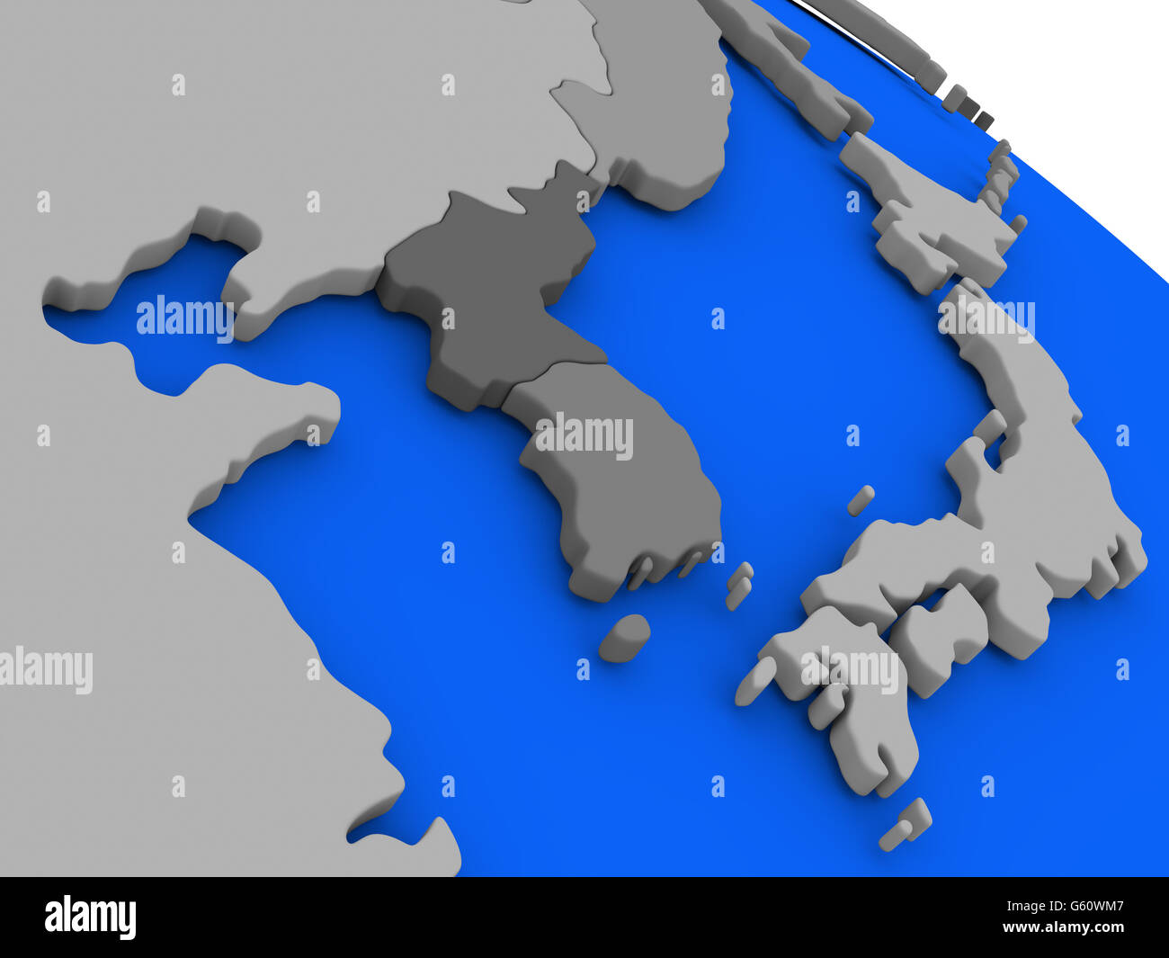 map of south korean and north korea on 3d model of earth with countries in various shades of grey and blue oceans 3d illustrati