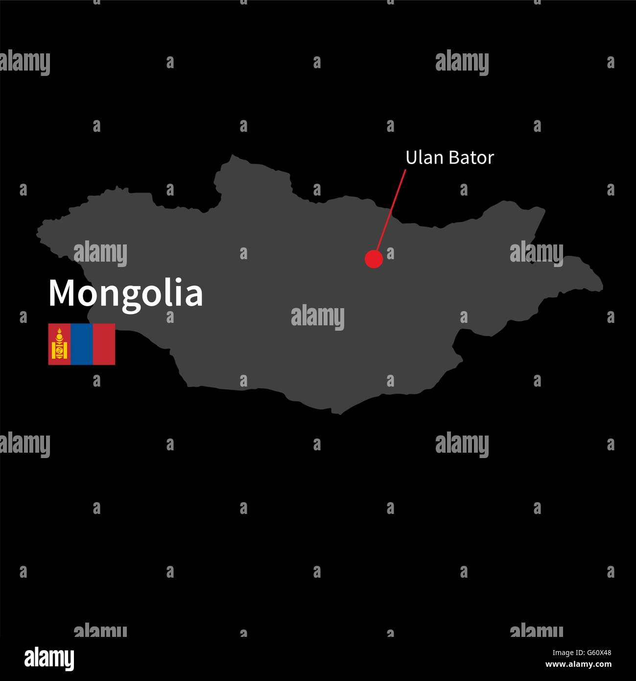 Detailed map of Mongolia and capital city Ulan Bator with flag on black background - Stock Vector