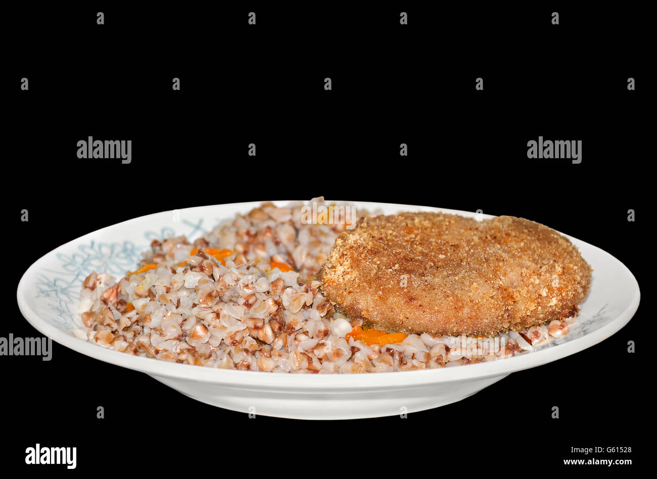 Buckwheat porridge with a cutlet - Stock Image