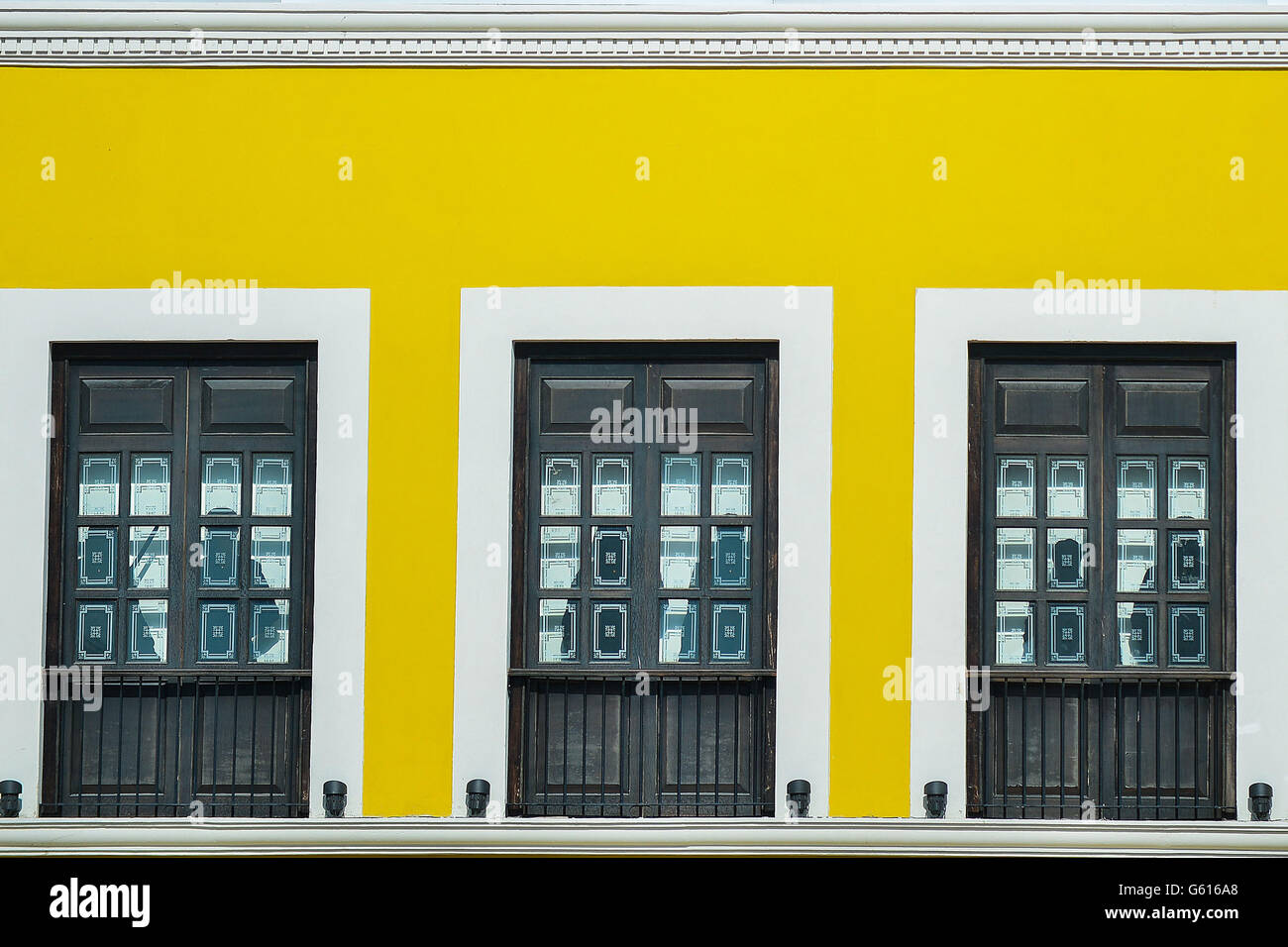 Windows of colonial building in Campeche Mexico - Stock Image