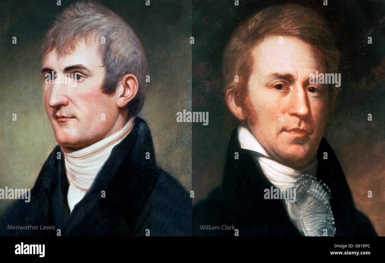 Lewis and Cark. Meriwether Lewis and William Clark. Portraits by Charles Willson Peale, c.1807 and 1810. - Stock Image