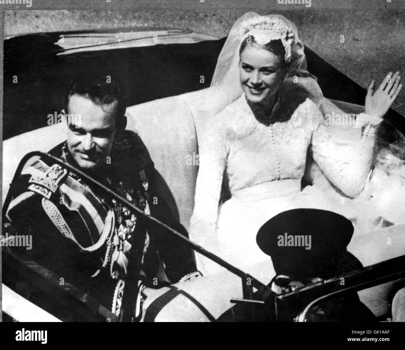Prince Ranier 111 and his bride, Princess Grace - Stock Image