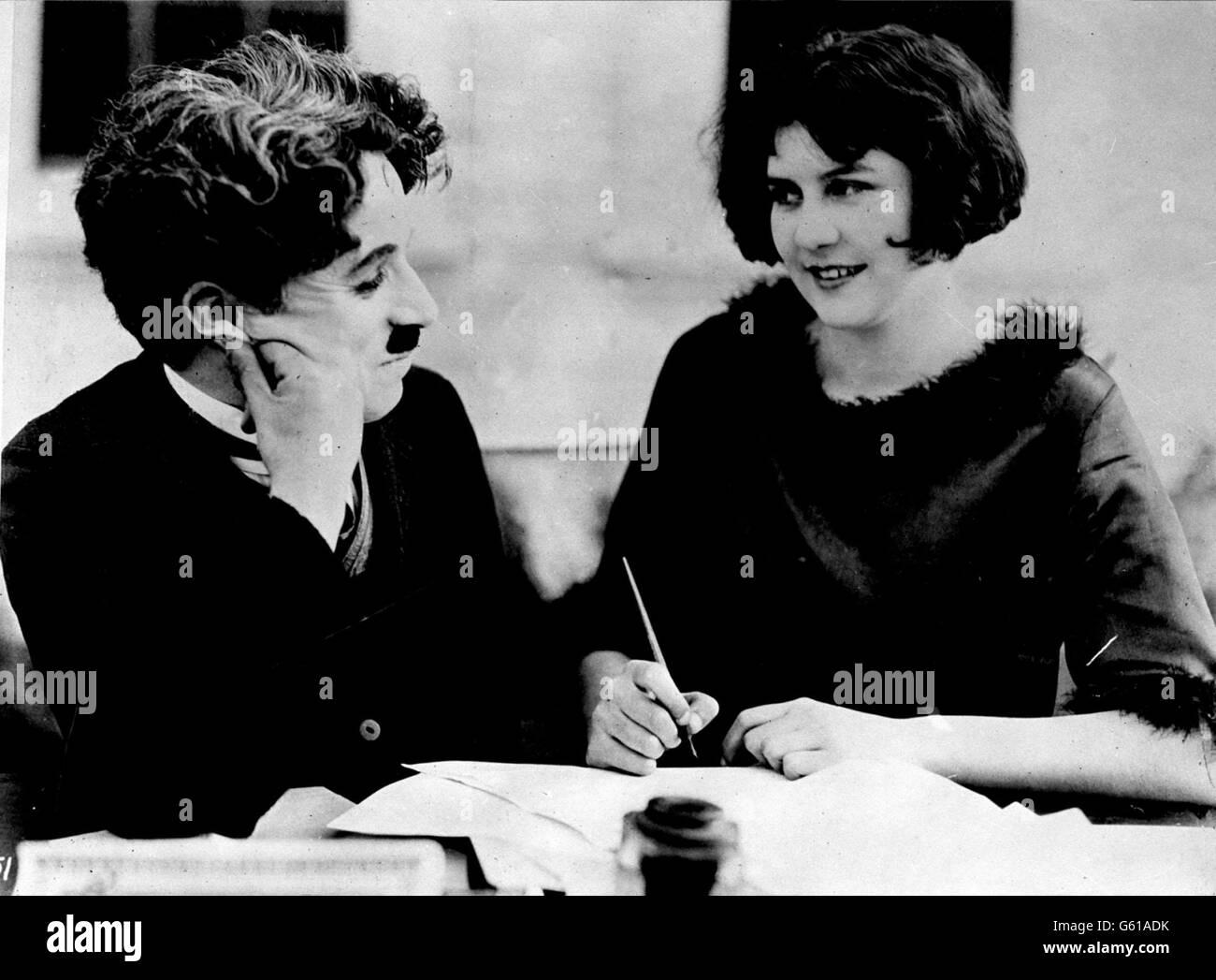 Charlie Chaplin and Miss Lita Grey Stock Photo