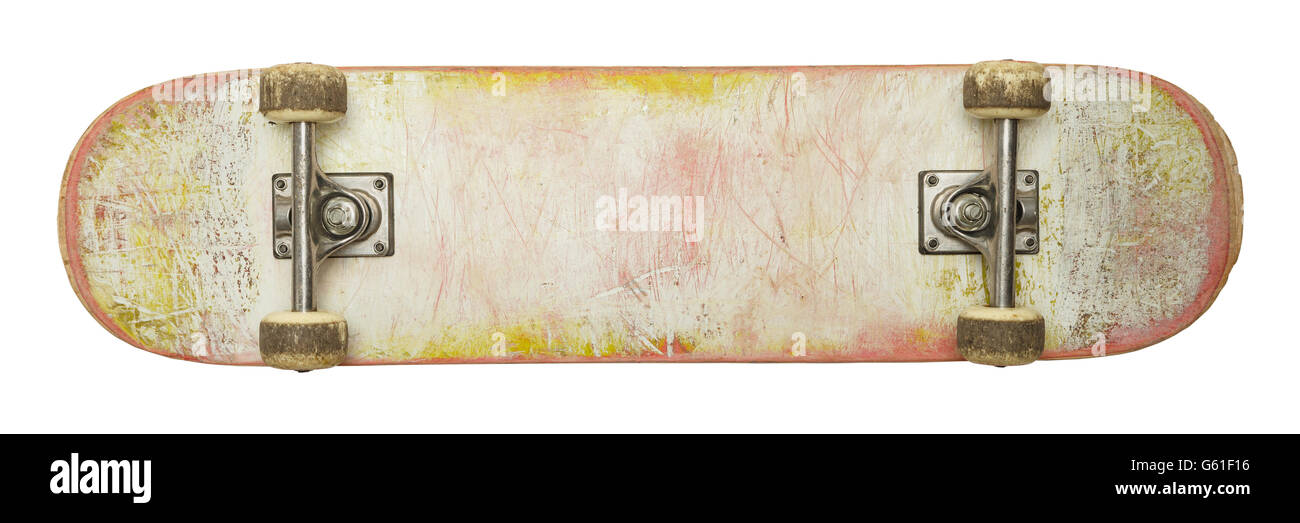 Bottom of Used Skate Board with Copy Space Isolated on White Background. - Stock Image