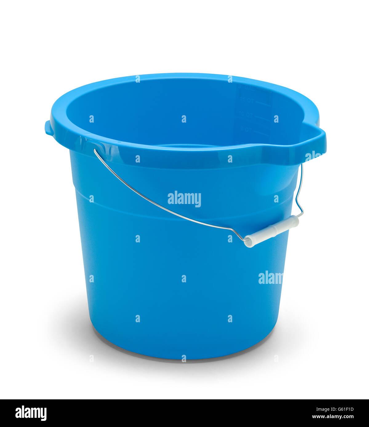 Empty Blue Cleaning Bucket Isolated on White Background. - Stock Image
