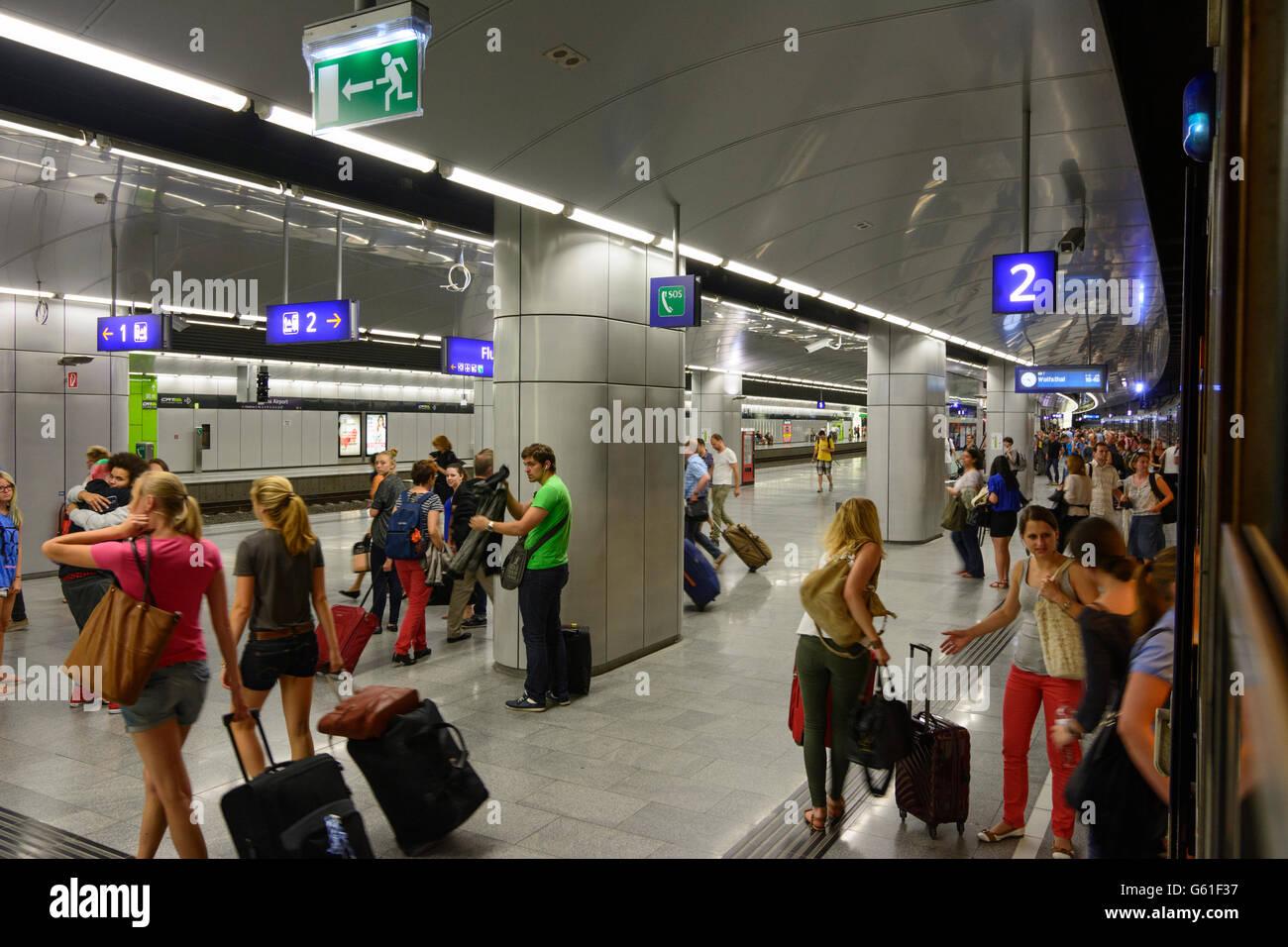sttaion Wien Flughafen, from an S-Bahn ÖBB disembarking passengers, Schwechat, Austria, Niederösterreich, - Stock Image