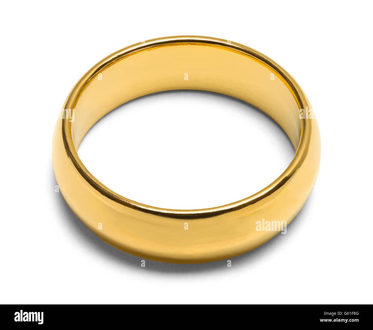 Single Gold Wedding Ring Isolated on White Background. - Stock Image