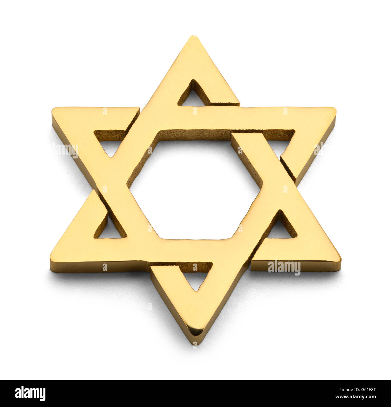 Jewish Golden Star of David Isolated on White Background. - Stock Image