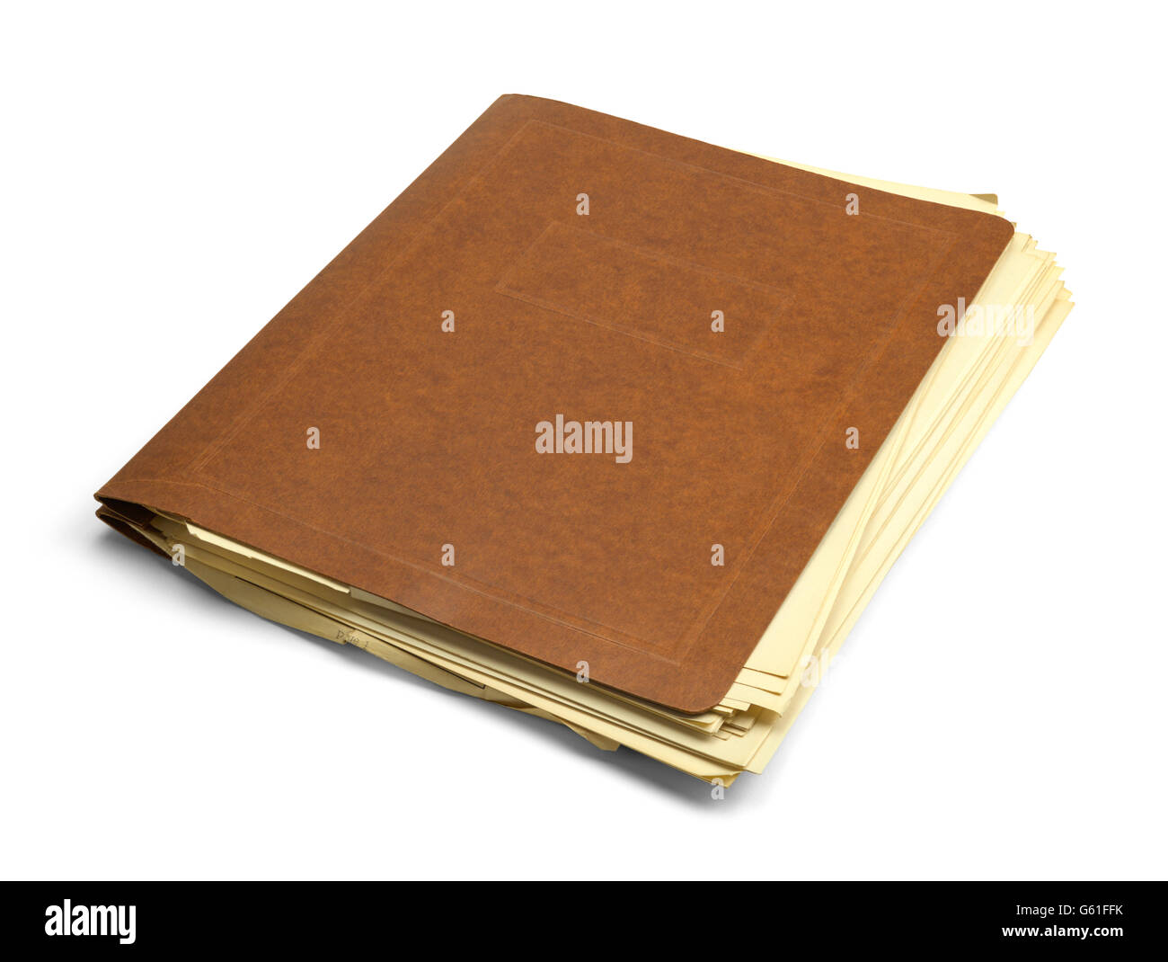 Vintage Brown Folder with Messy Papers Isolated on White Background. - Stock Image