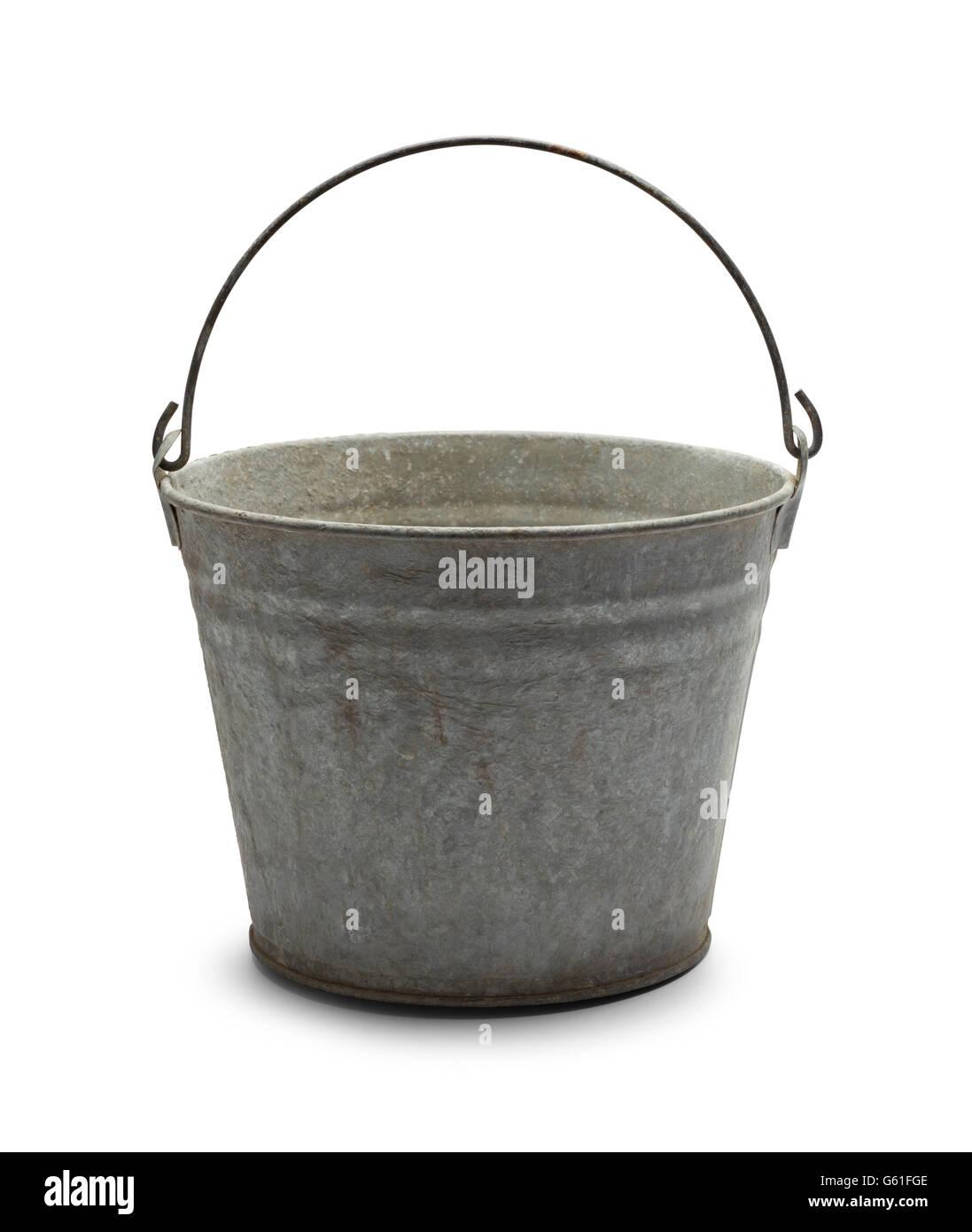 Empty Vintage Steel Bucket Isolated on White Background. - Stock Image