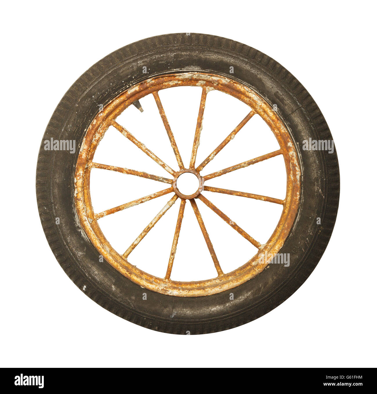 Antique Worn and Rusted Rubber Tire and Spoked Rim Isolated on White Background. - Stock Image