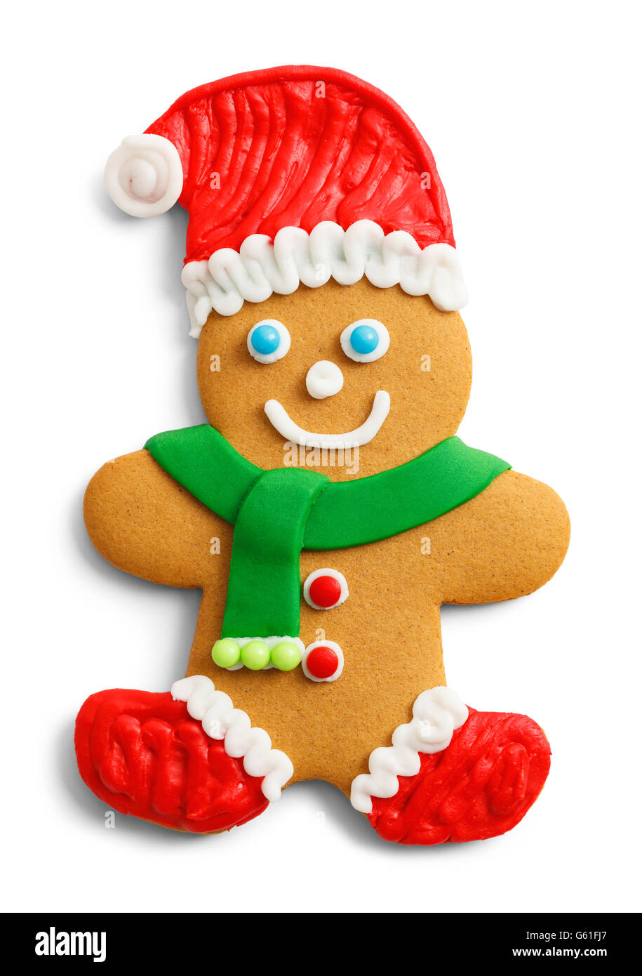 Christmas Gingerbread Cookie with Santa Hat and Scarf Isolated on White Background. - Stock Image