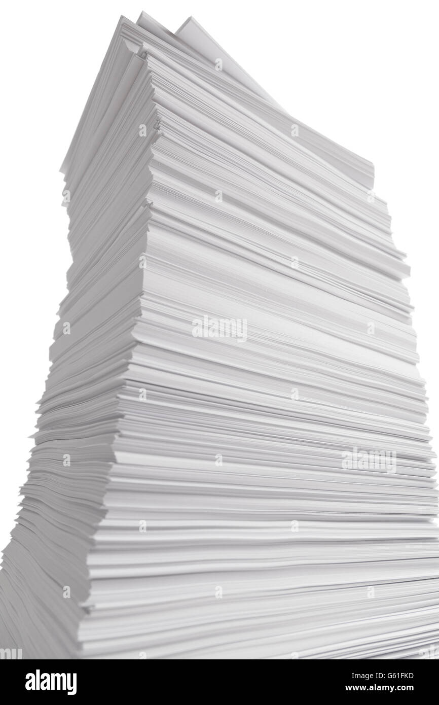 Large Towering Stack of White Paper Isolated on White Background. - Stock Image