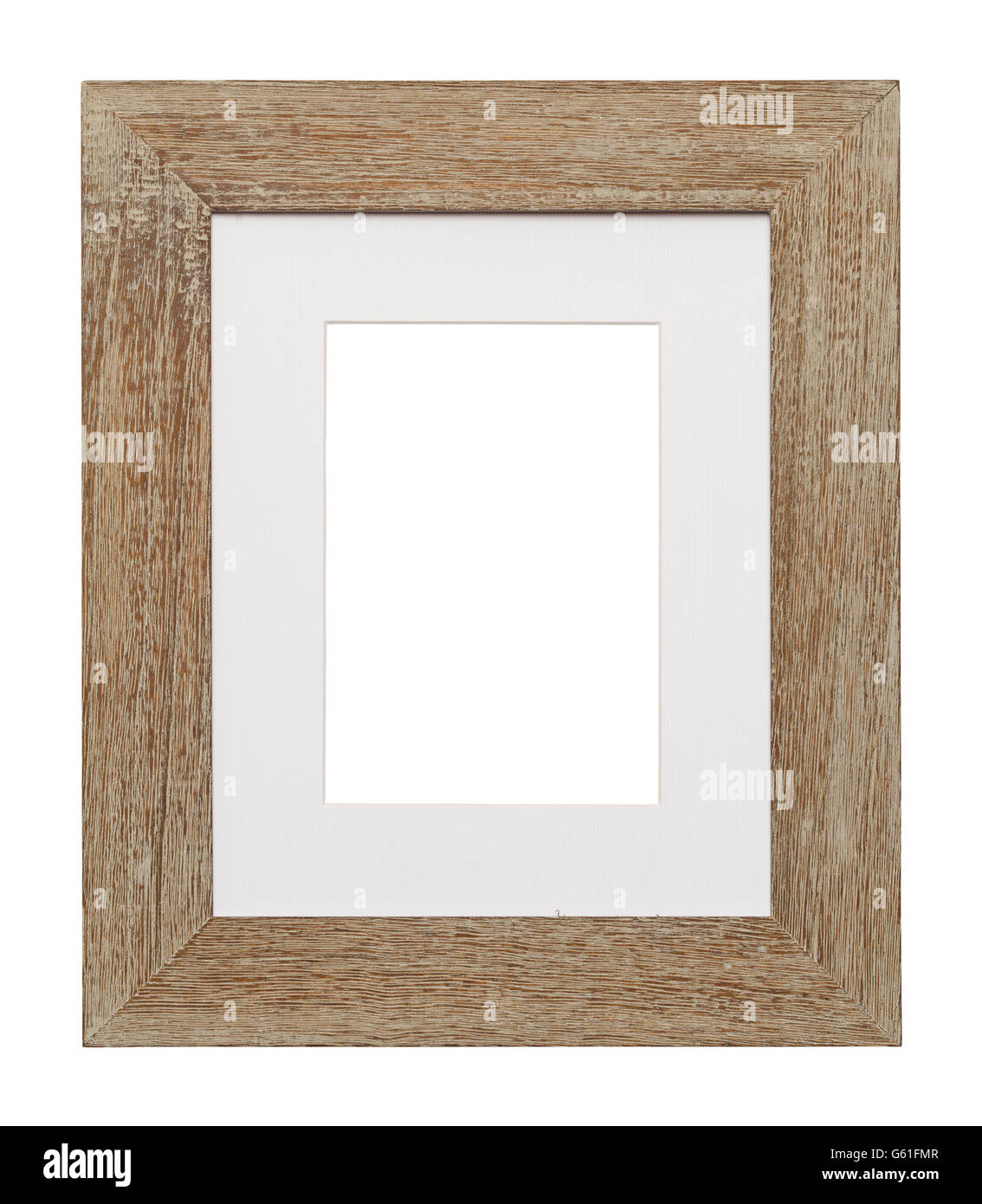 Wood Frame With White Matting And Copy Space Isolated On White Stock