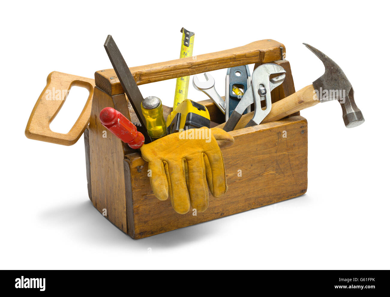 Old Wooden Tool Box Full of Tools Isolated on White Background. - Stock Image