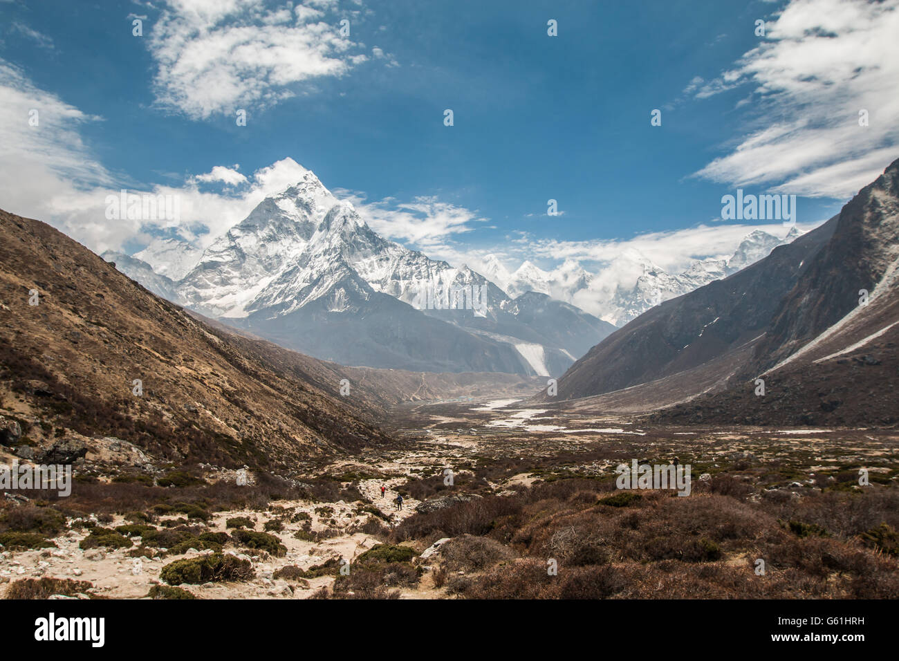 Nice Panoramic view of Himalayan mountains in Nepal - Stock Image