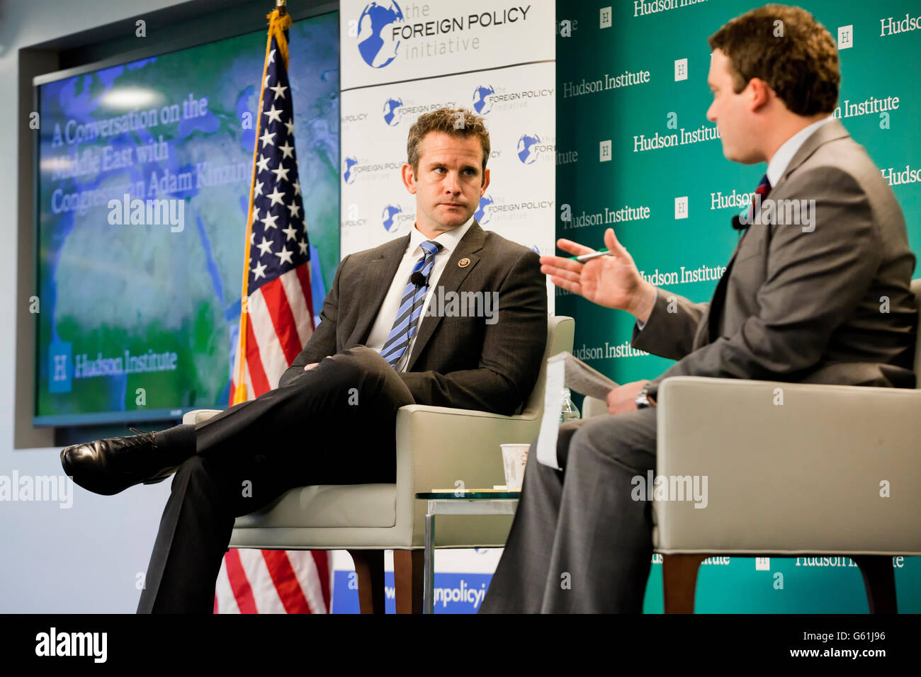 May 26, 2016: Illinois republican congressman Adam Kinzinger speaking at Hudson Institute - Washington, DC USA - Stock Image