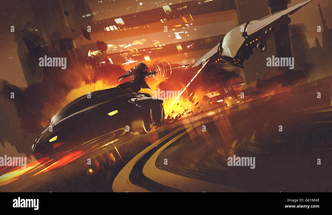 chase scene of spacecraft chasing futuristic car on highway,illustration - Stock Image