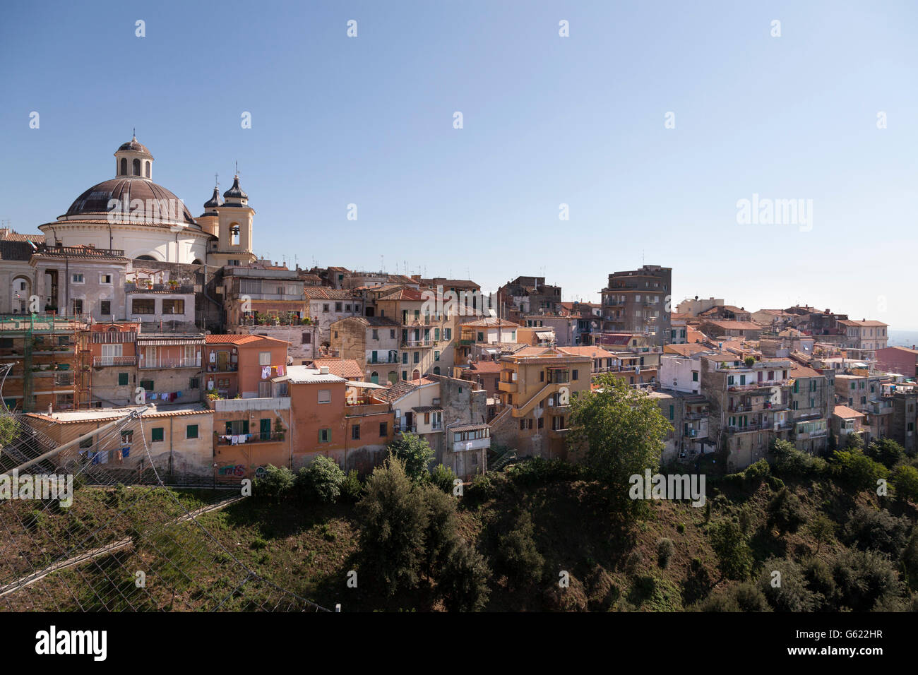 The town of Ariccia with cupola of Santa Maria Assunta in Cielo church, viewed from the bridge, Lazio, Italy, Europe - Stock Image