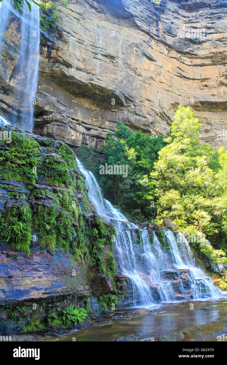 Wentworth falls in Blue Mountains Australia - Stock Image