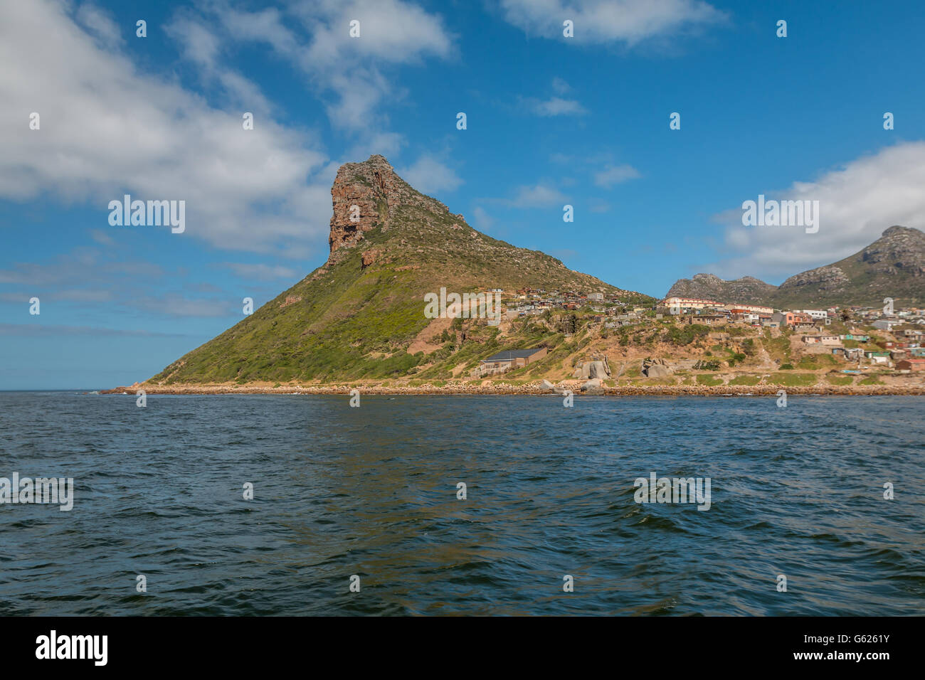 The Sentinel rock in Cape Town South Africa - Stock Image