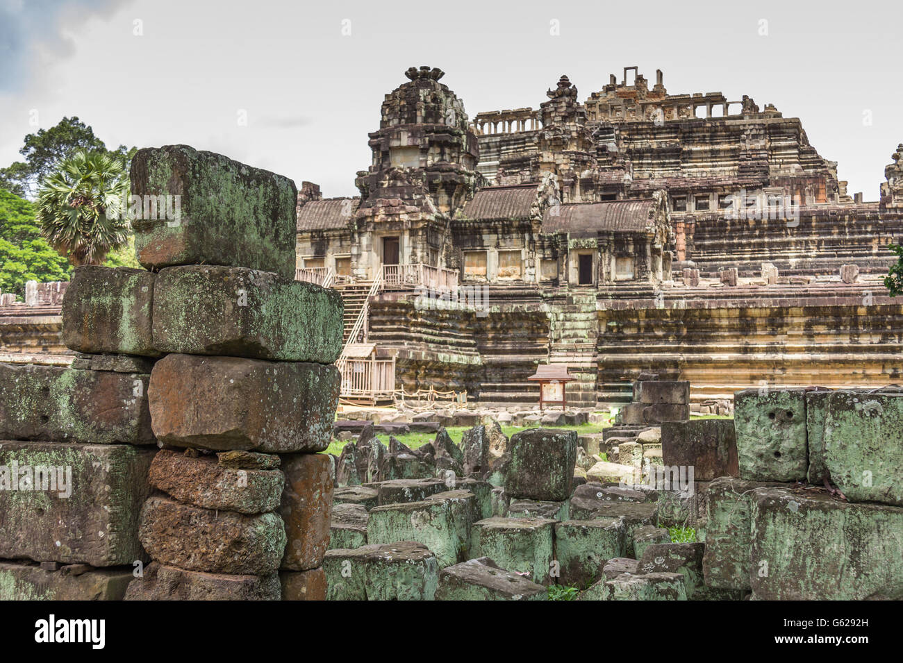 The ruins of Bayon temples in Cambodia - Stock Image