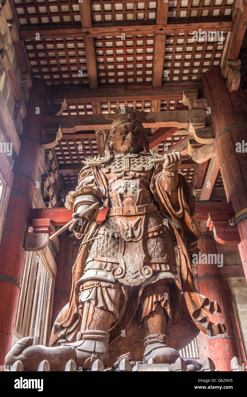 Wooden statue in Todaiji Temple in Nara Japan - Stock Image