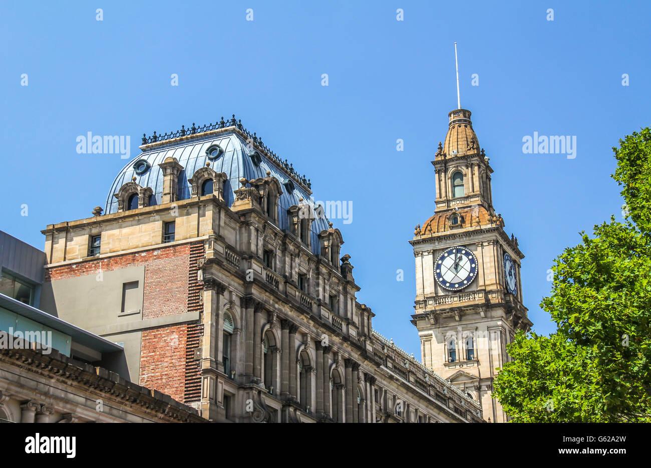 Clock tower in Melbourne Australia - Stock Image