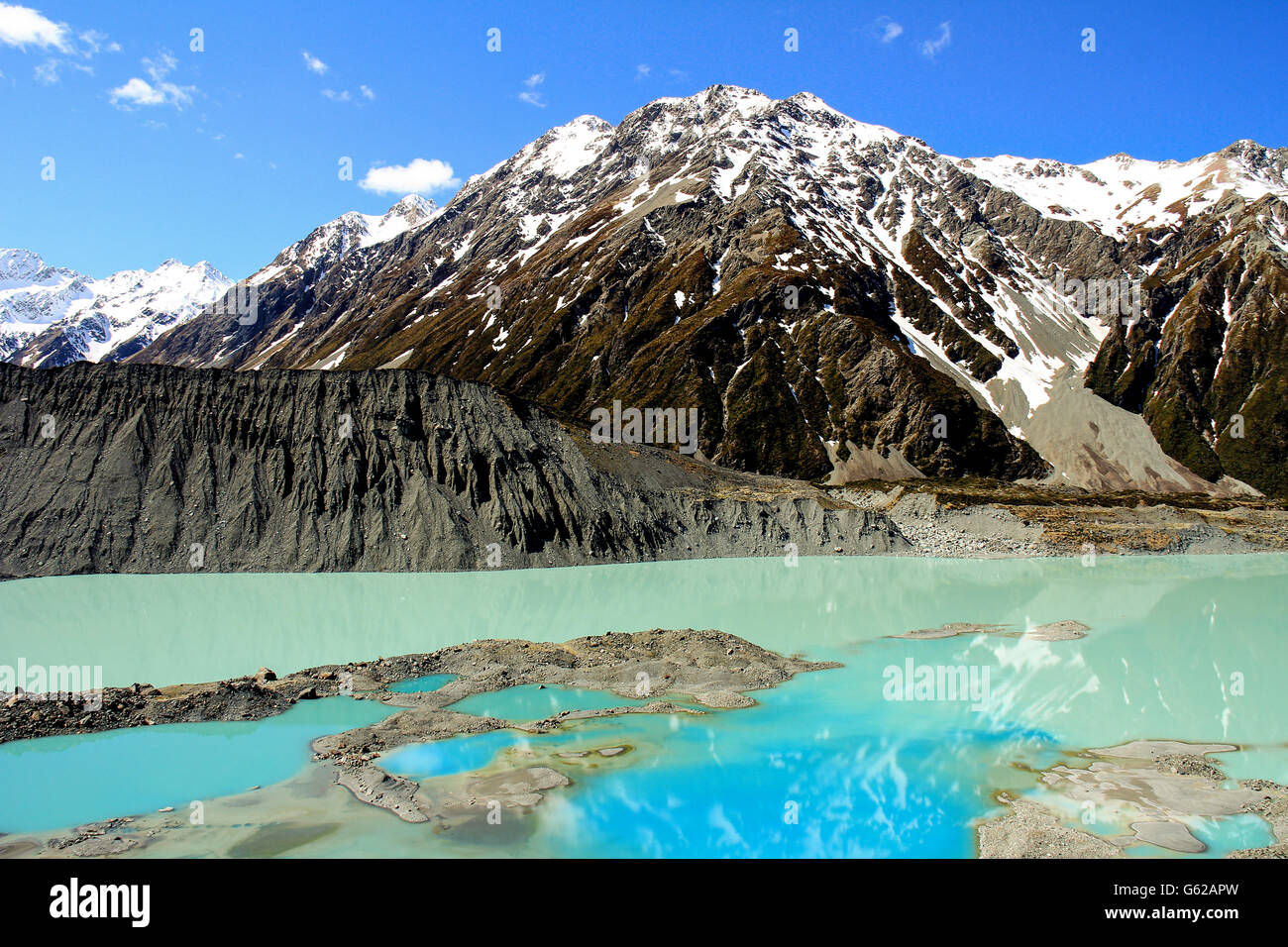 Mueller Lake in Mount Cook national park in New Zealand - Stock Image