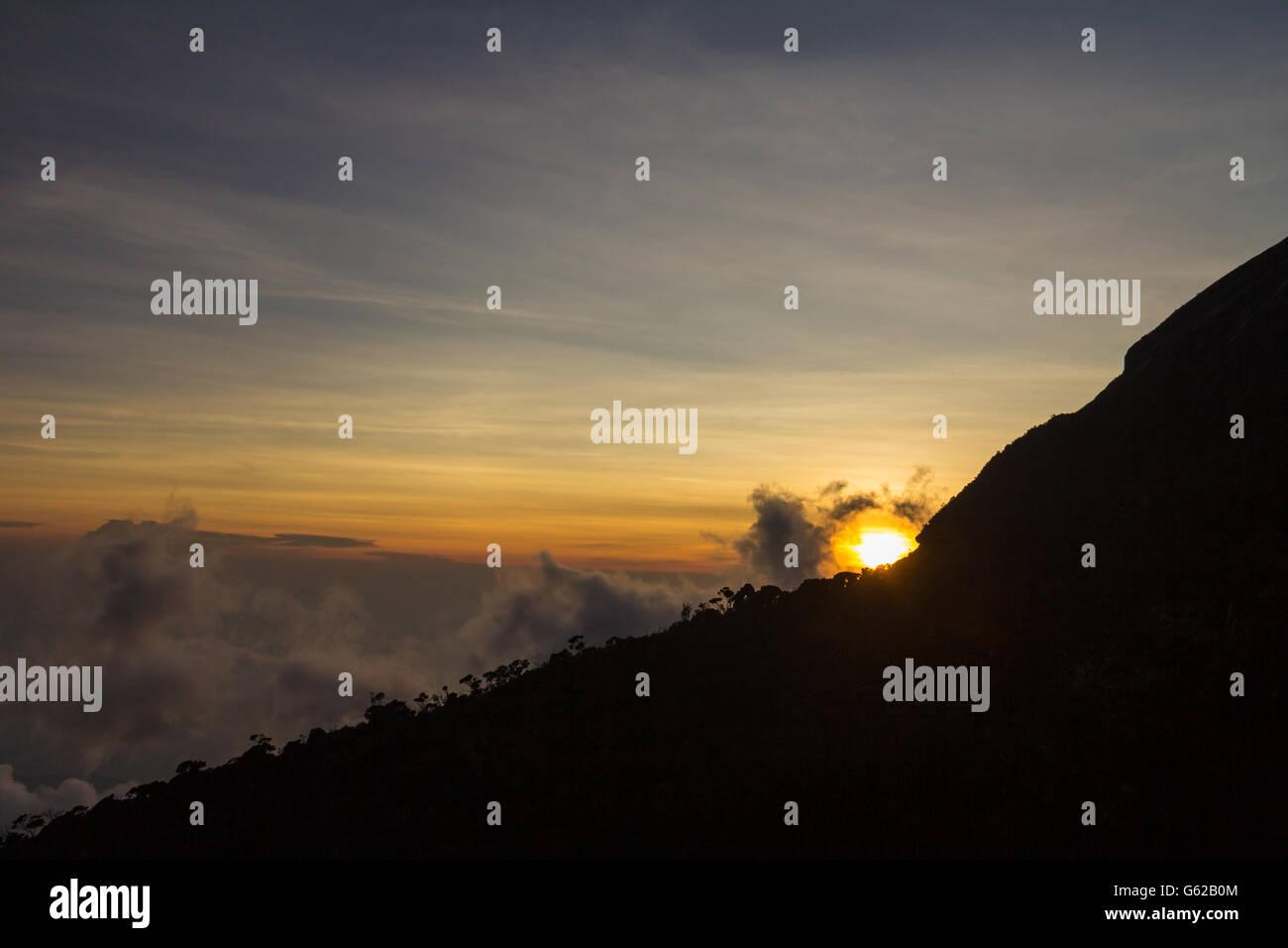 Sunset in Mount Kinabalu - Stock Image