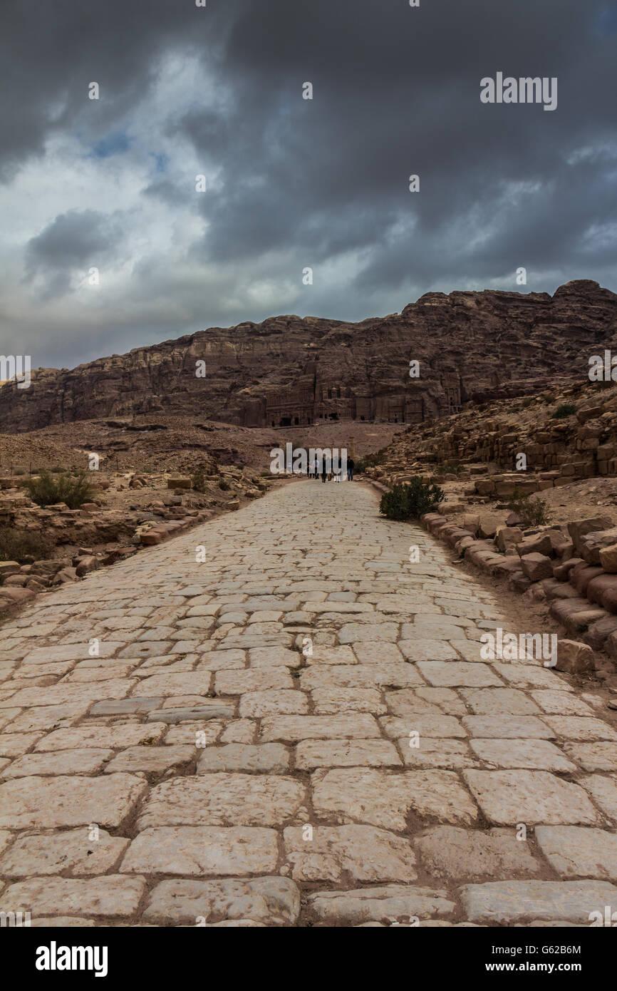 Ancient road in Petra Jordan - Stock Image
