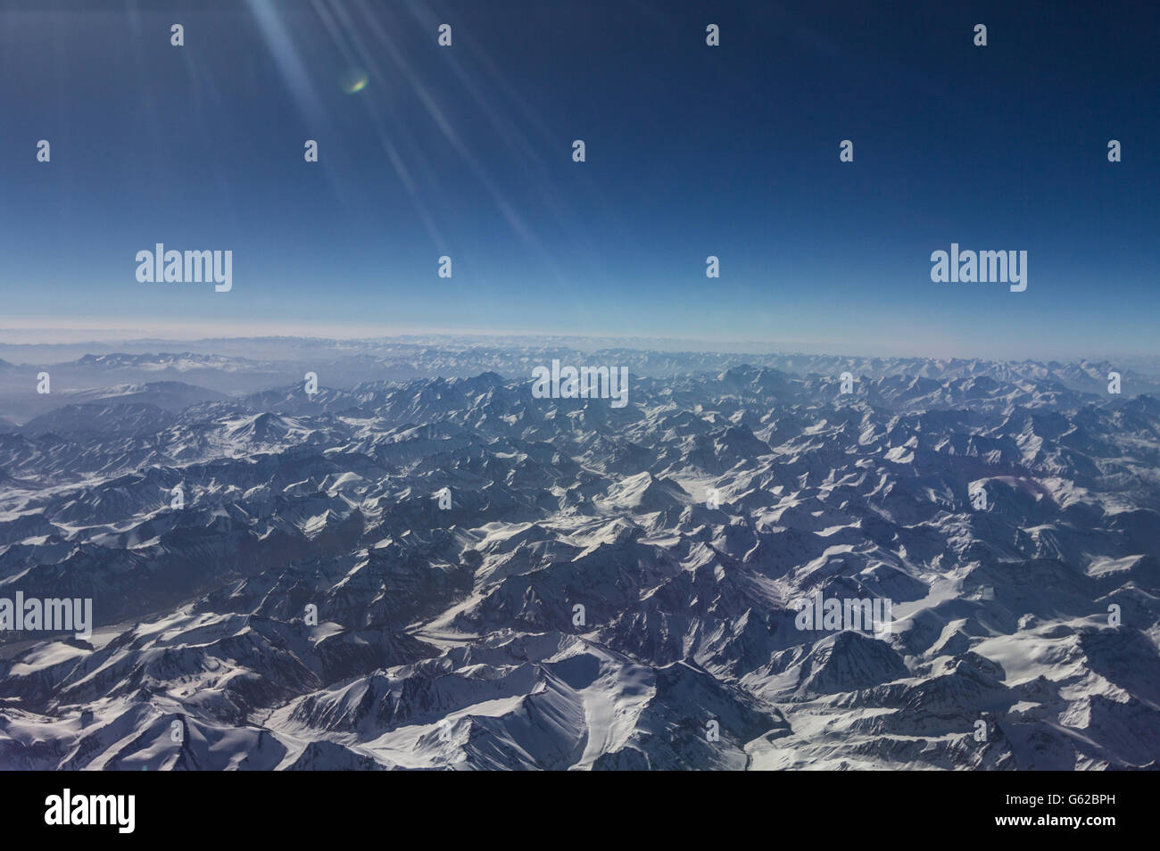 View of Himalayan mountains - Stock Image