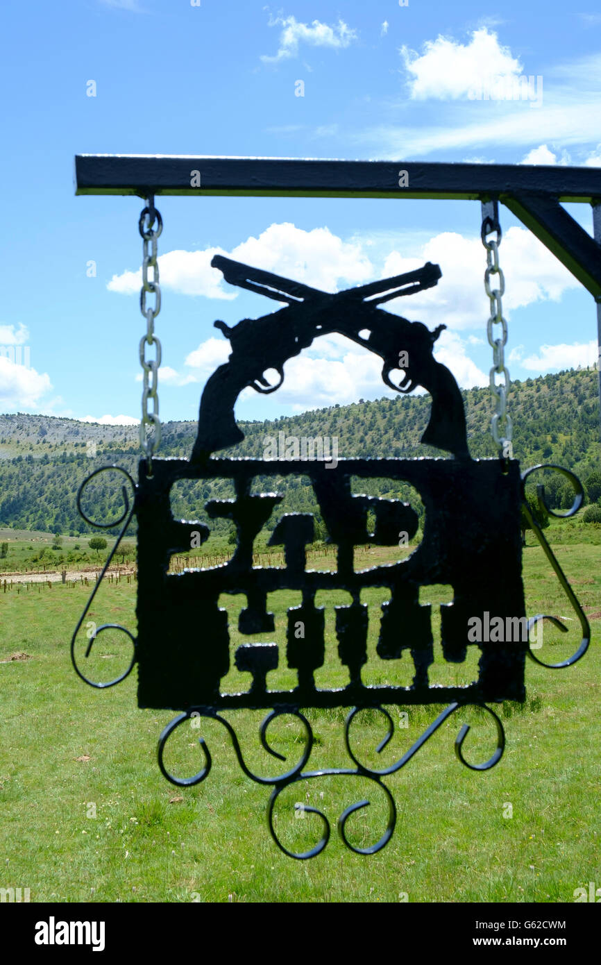 Sad Hill cemetery - depicted in the film 'The Good, the Bad and the Ugly' - near Covarrubias in Spain - Stock Image