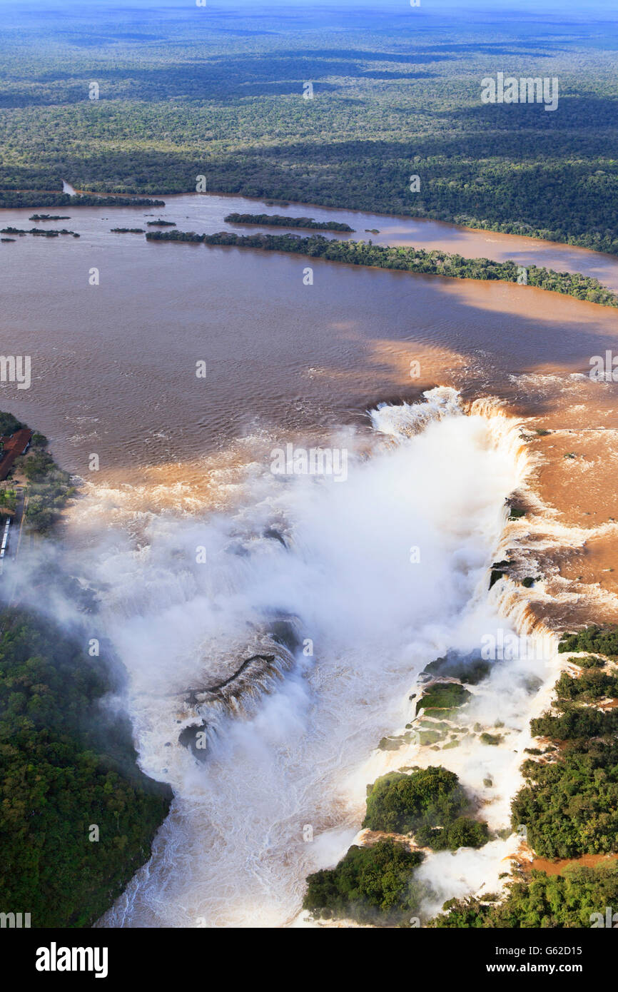 Aerial view of the Devil's Throat at the Iguassu Falls on the border with Brazil and Argentina - Stock Image