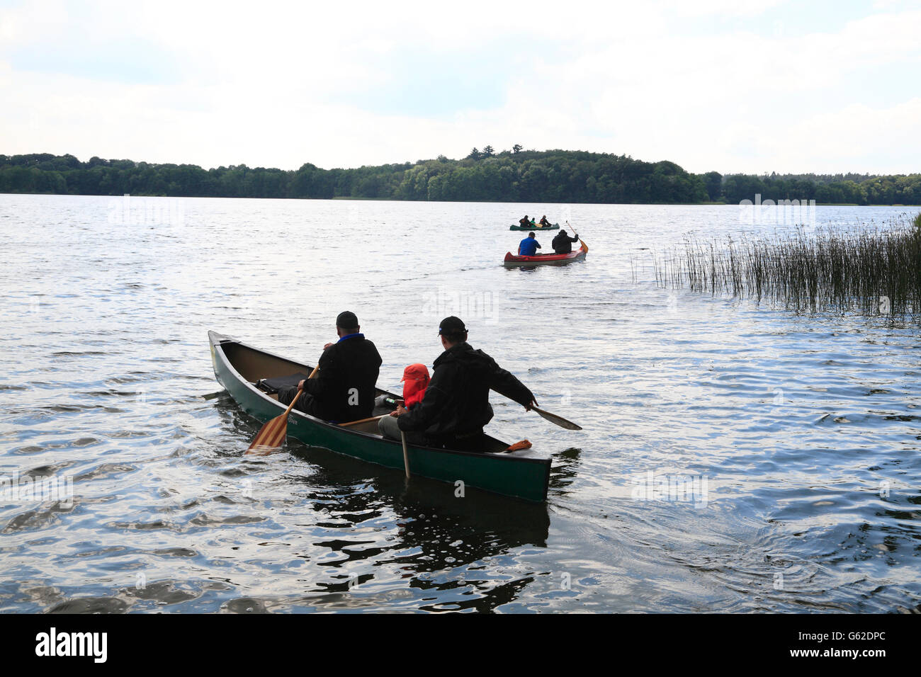 Canoe trip on Lake Schaalsee, Mecklenburg Western Pomerania, Germany, Europe - Stock Image