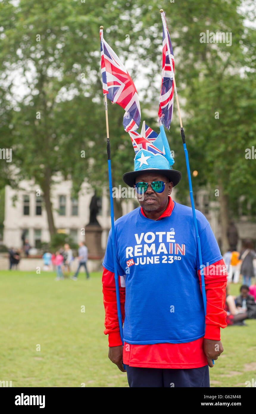 Flamboyant vote remain campaigner in Parliament Square, London - Stock Image