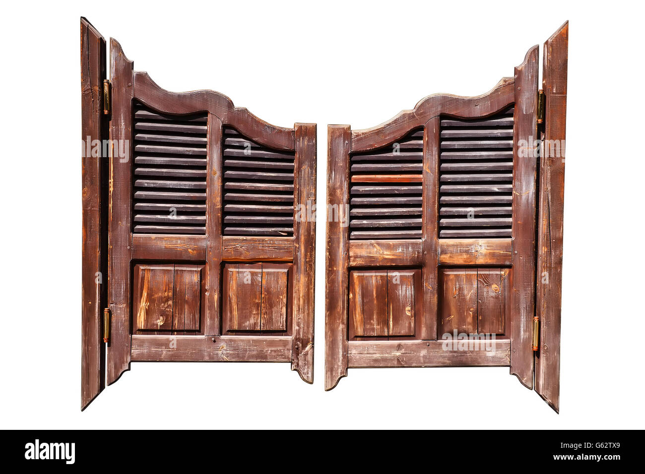Old rough wooden saloon doors isolated on white with clipping path - Stock  Image - Saloon Doors Stock Photos & Saloon Doors Stock Images - Alamy