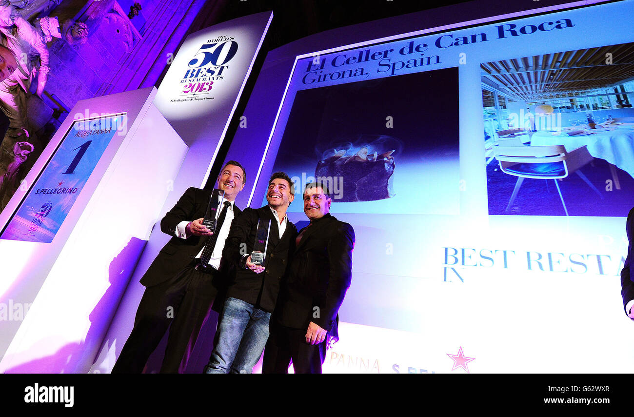 El Cellar de Can Roca wins the Best Restaurant in the World award, with head chef Joan Roca (left), at the 50 Best Stock Photo