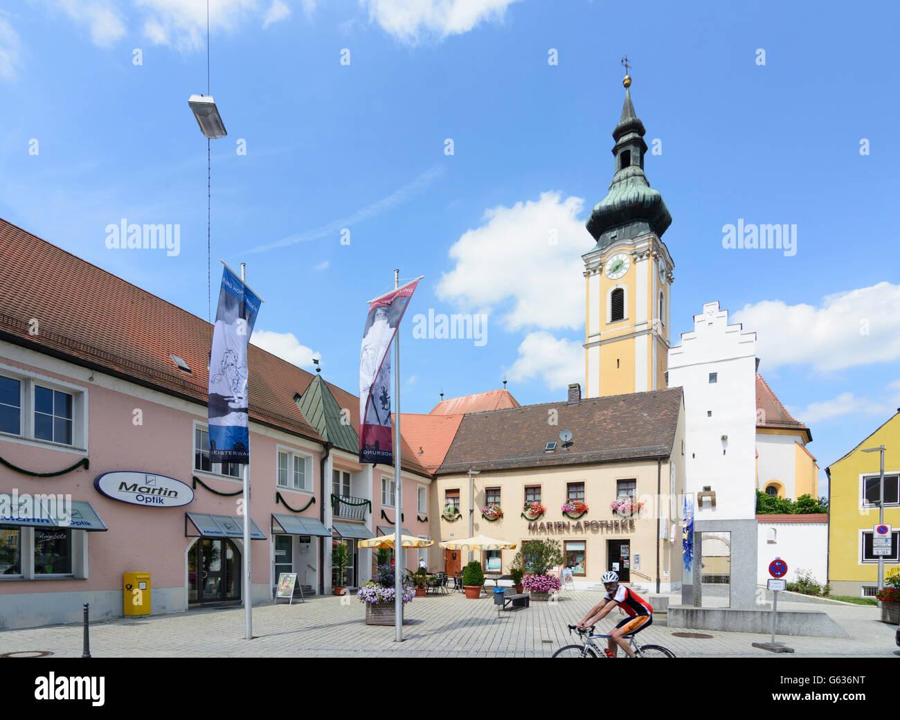 mainstreet, church Unsere Liebe Frau, Nittenau, Germany, Bayern, Bavaria, Oberpfalz, Upper Palatinate - Stock Image