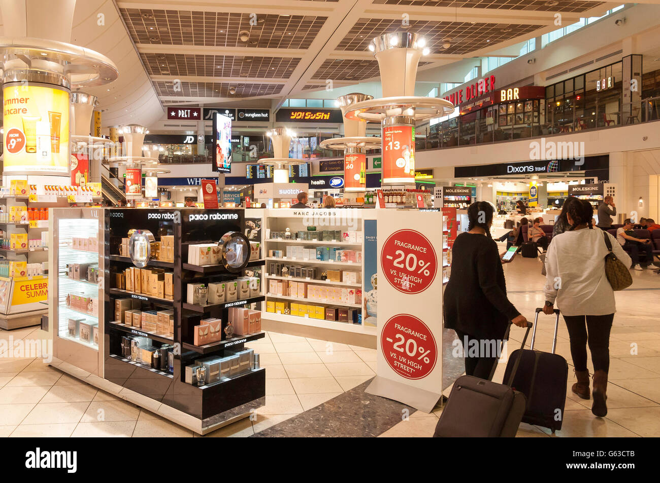 Duty Free shop in Departure Lounge at North Terminal, London Gatwick Airport, Crawley, West Sussex, England, United - Stock Image