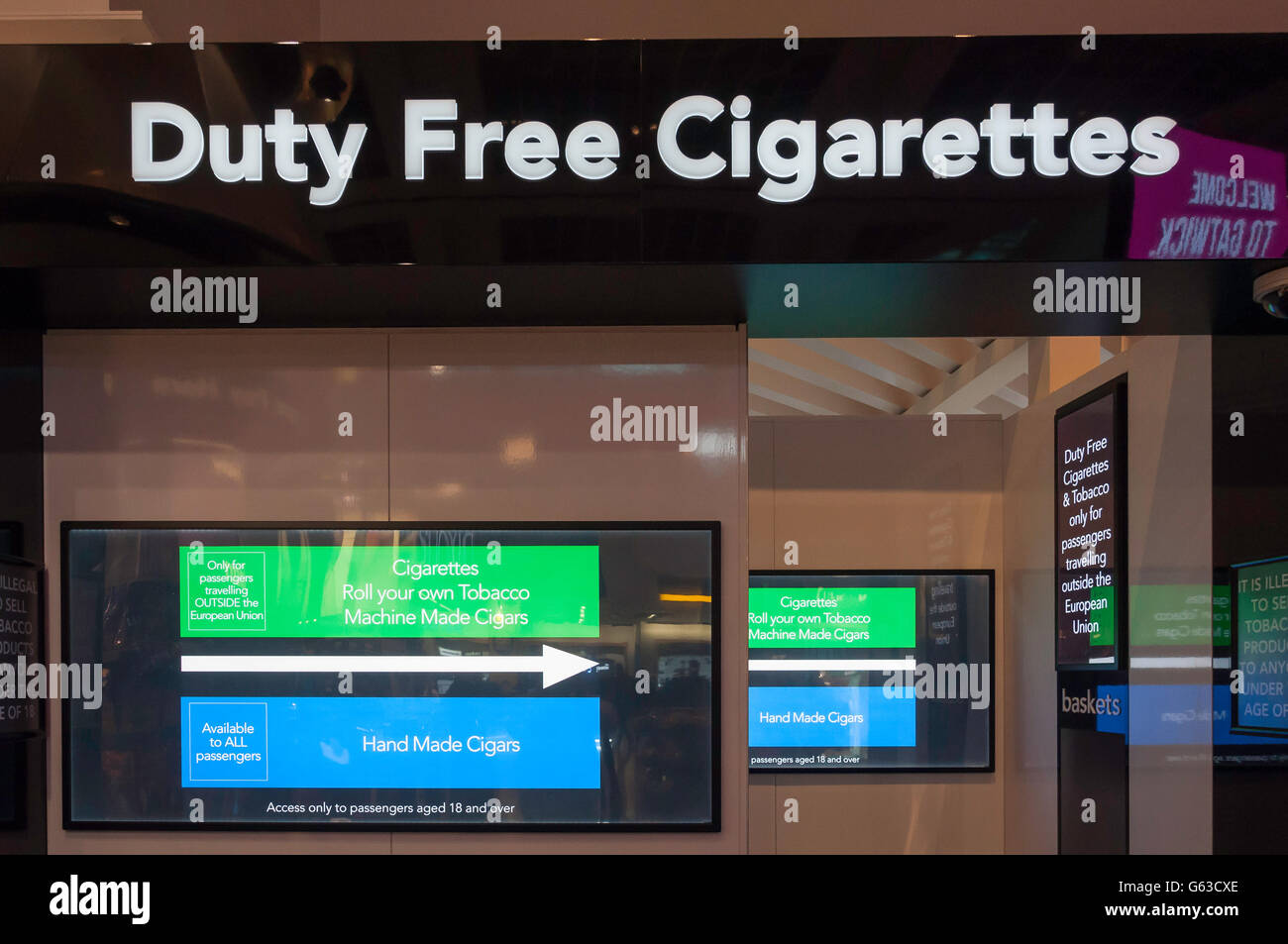 Duty Free cigarette section in Departures, North Terminal, London Gatwick Airport, Crawley, West Sussex, England, - Stock Image