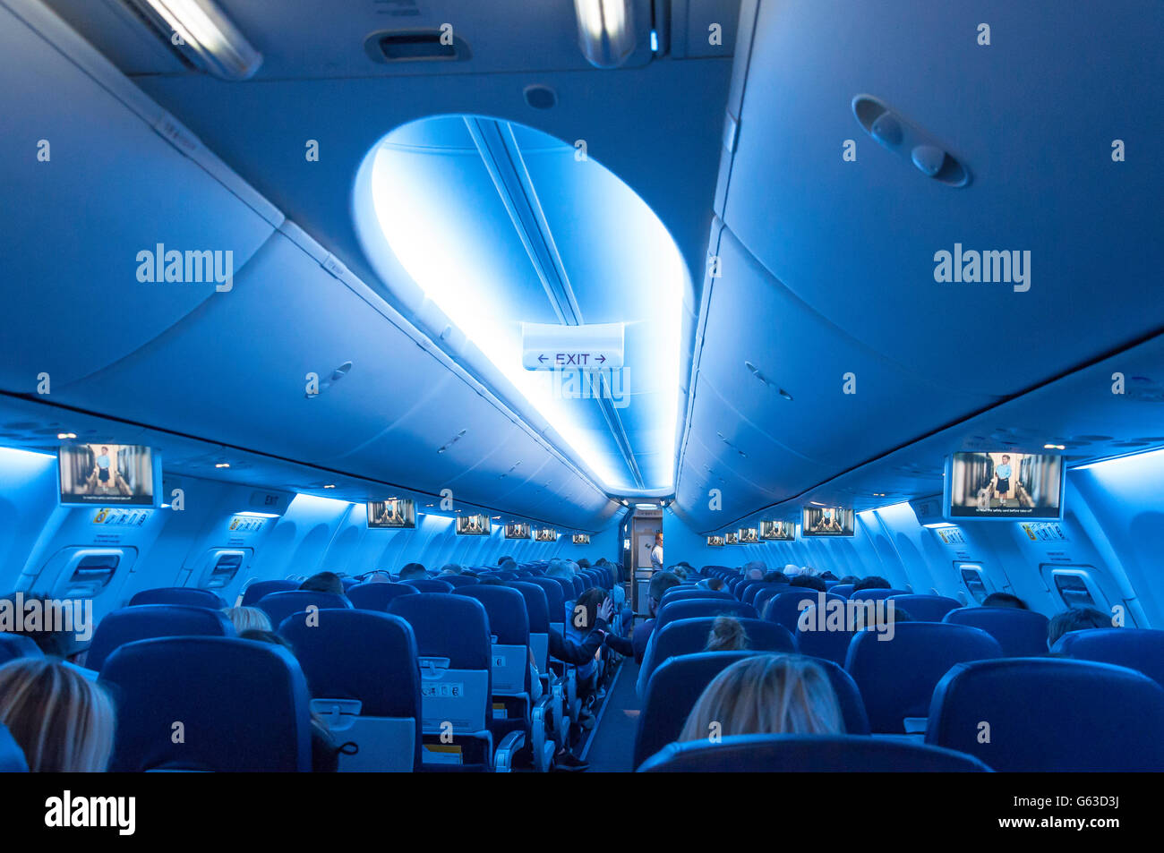Interior of TUI Airways Boeing 737-800 aircraft at North Terminal, London Gatwick Airport, Crawley, West Sussex, - Stock Image