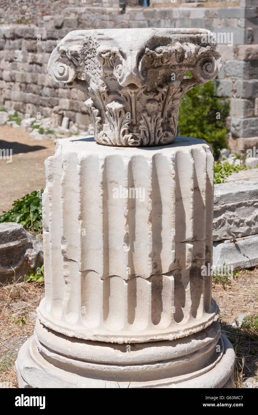 Sculptured marble plinth and column at The Fortress of Kos, Kos Town, Kos (Cos), The Dodecanese, South Aegean Region, - Stock Image